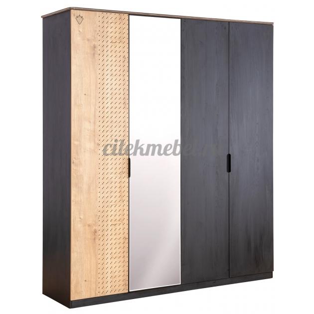 Четырехдверный шкаф Cilek Black
