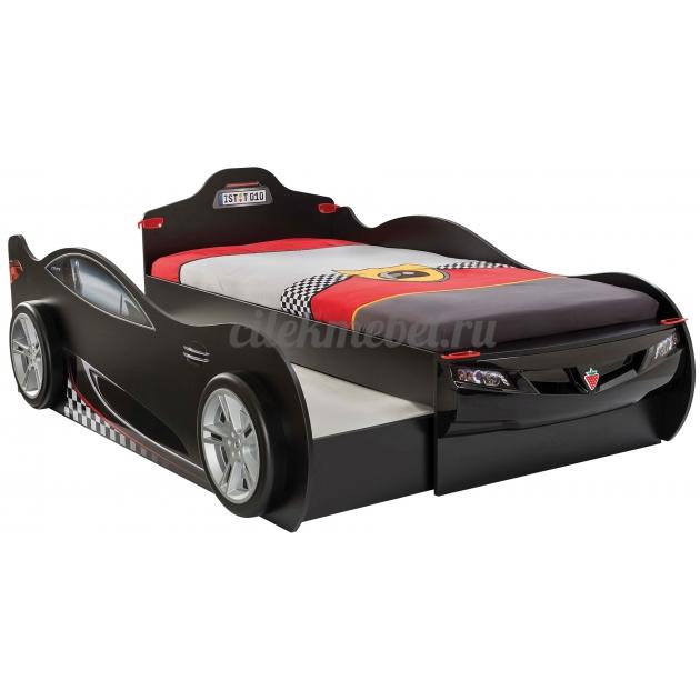 Кровать машина с выдвижным спальным местом Cilek Coupe черная