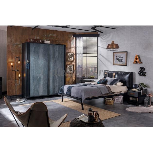 Кровать Cilek Dark Metal 200 на 100 см мягкое изголовье