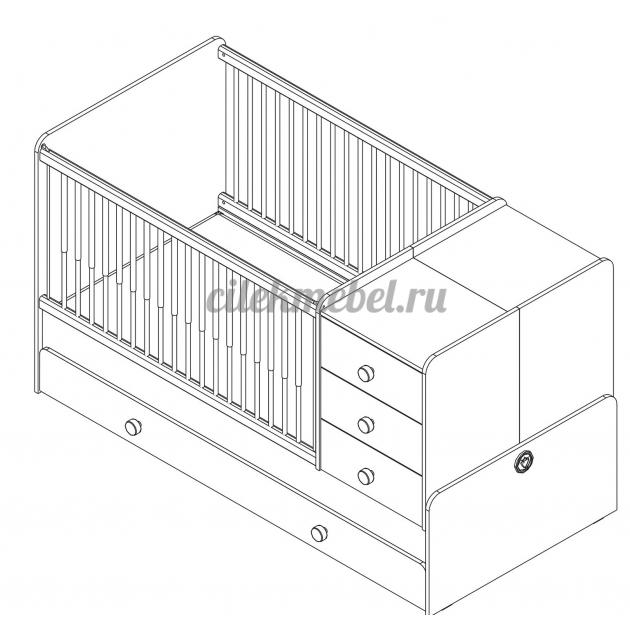 Кроватка трансформер Cilek Natura Baby с выдвижным спальным местом