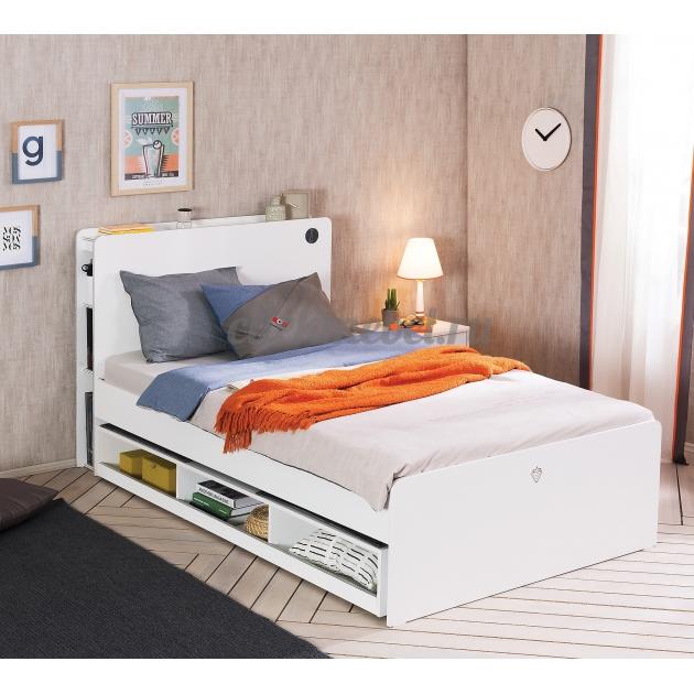Выдвижное спальное место c полками Cilek White